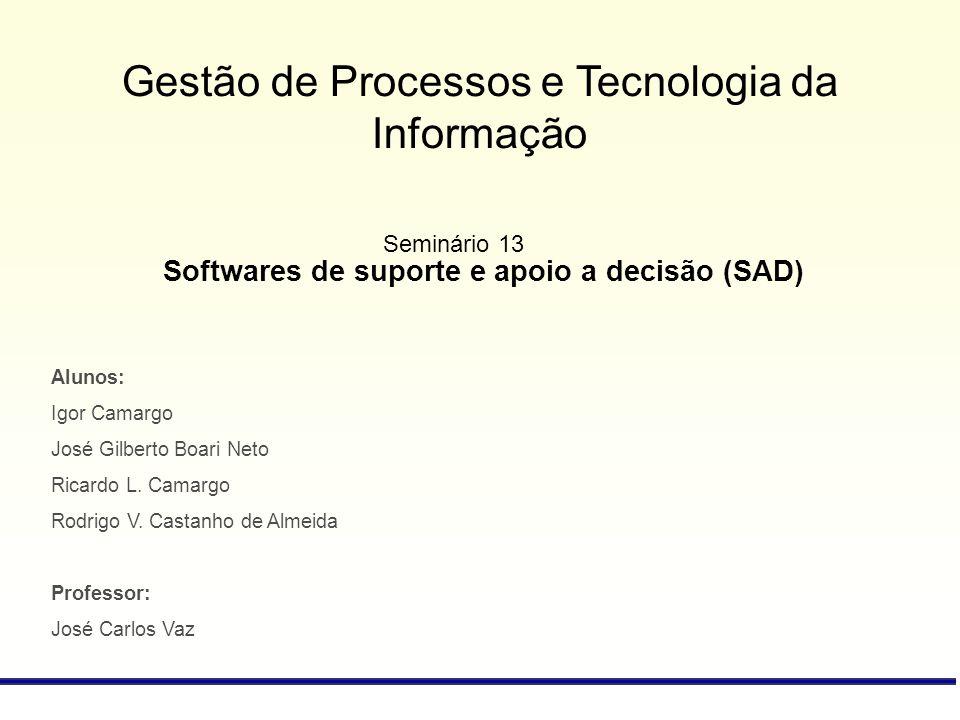 Gestão de Processos e Tecnologia da Informação Softwares de suporte e apoio a decisão (SAD) Alunos: Igor Camargo José Gilberto Boari Neto Ricardo L. C
