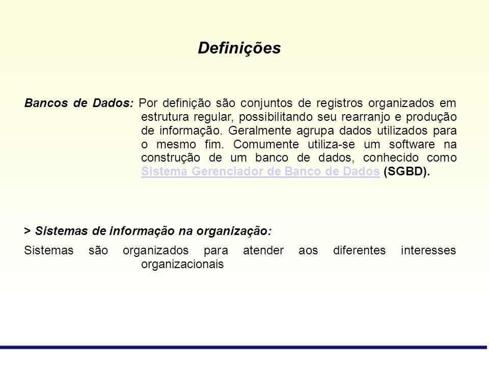 Bancos de Dados: Por definição são conjuntos de registros organizados em estrutura regular, possibilitando seu rearranjo e produção de informação. Ger