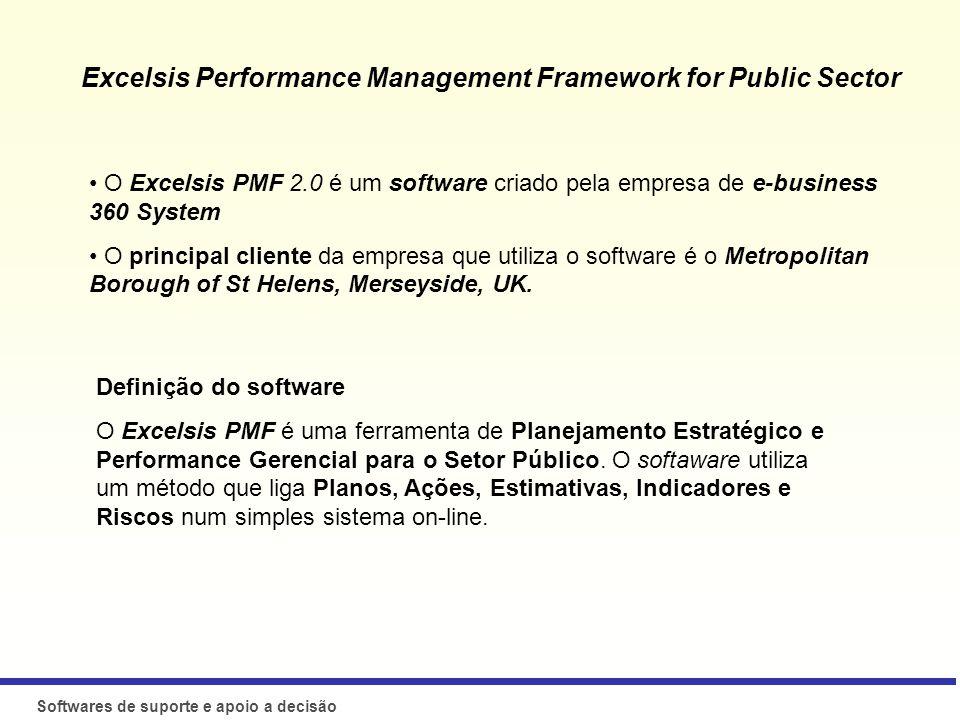Softwares de suporte e apoio a decisão O que são? O Excelsis PMF 2.0 é um software criado pela empresa de e-business 360 System O principal cliente da
