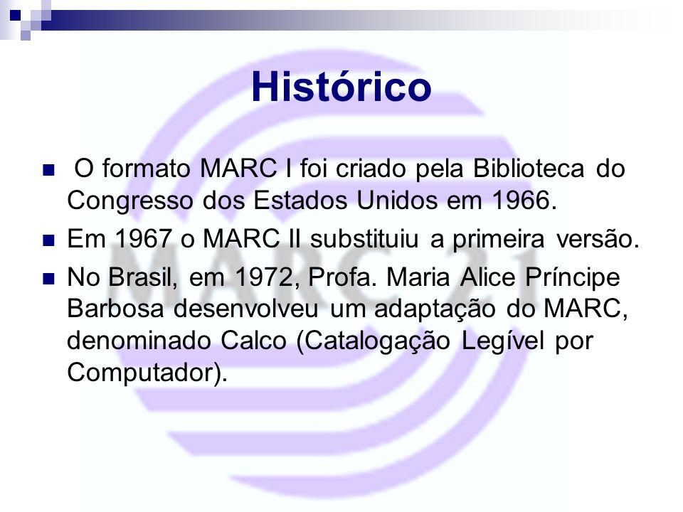 Histórico O formato MARC I foi criado pela Biblioteca do Congresso dos Estados Unidos em 1966. Em 1967 o MARC II substituiu a primeira versão. No Bras