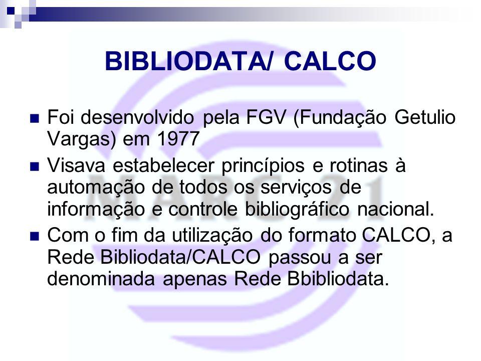 BIBLIODATA/ CALCO Foi desenvolvido pela FGV (Fundação Getulio Vargas) em 1977 Visava estabelecer princípios e rotinas à automação de todos os serviços