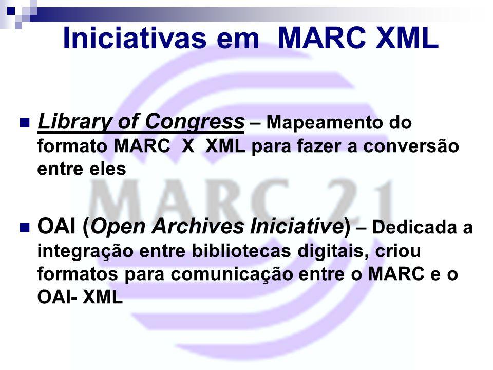 Iniciativas em MARC XML Library of Congress – Mapeamento do formato MARC X XML para fazer a conversão entre eles OAI (Open Archives Iniciative) – Dedi