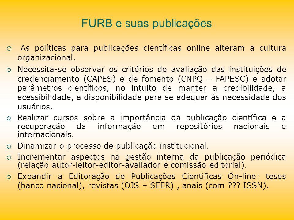 FURB e suas publicações As políticas para publicações científicas online alteram a cultura organizacional. Necessita-se observar os critérios de avali