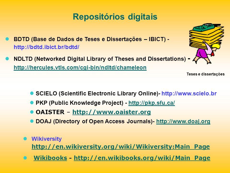 Repositórios digitais BDTD (Base de Dados de Teses e Dissertações – IBICT) - http://bdtd.ibict.br/bdtd/ NDLTD (Networked Digital Library of Theses and