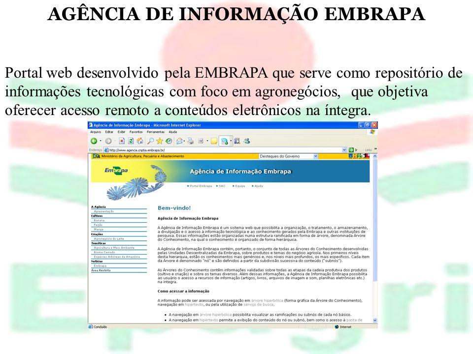 AGÊNCIA DE INFORMAÇÃO EMBRAPA Portal web desenvolvido pela EMBRAPA que serve como repositório de informações tecnológicas com foco em agronegócios, qu