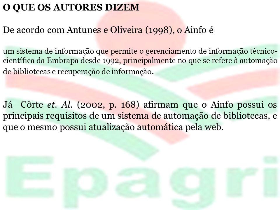 O QUE OS AUTORES DIZEM De acordo com Antunes e Oliveira (1998), o Ainfo é um sistema de informação que permite o gerenciamento de informação técnico-