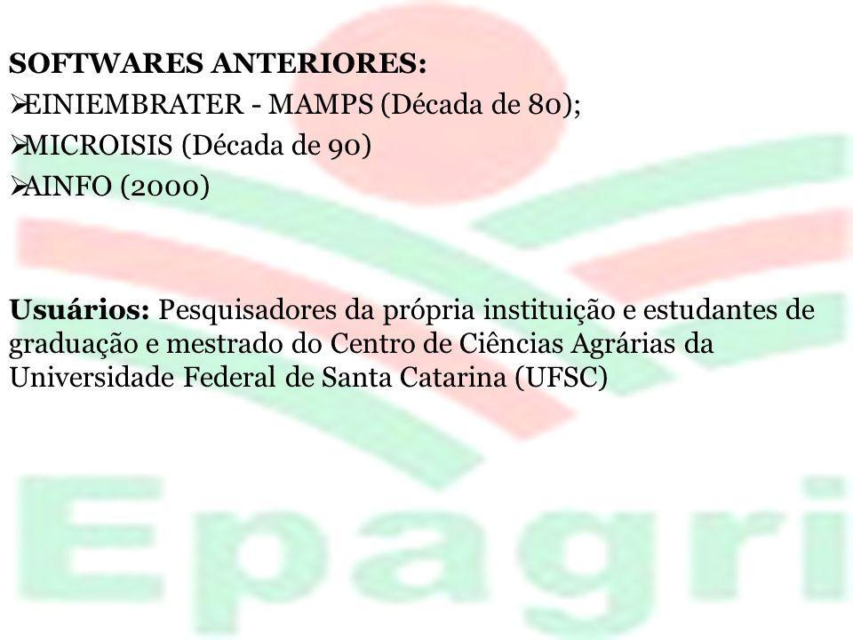 SOFTWARES ANTERIORES: EINIEMBRATER - MAMPS (Década de 80); MICROISIS (Década de 90) AINFO (2000) Usuários: Pesquisadores da própria instituição e estu