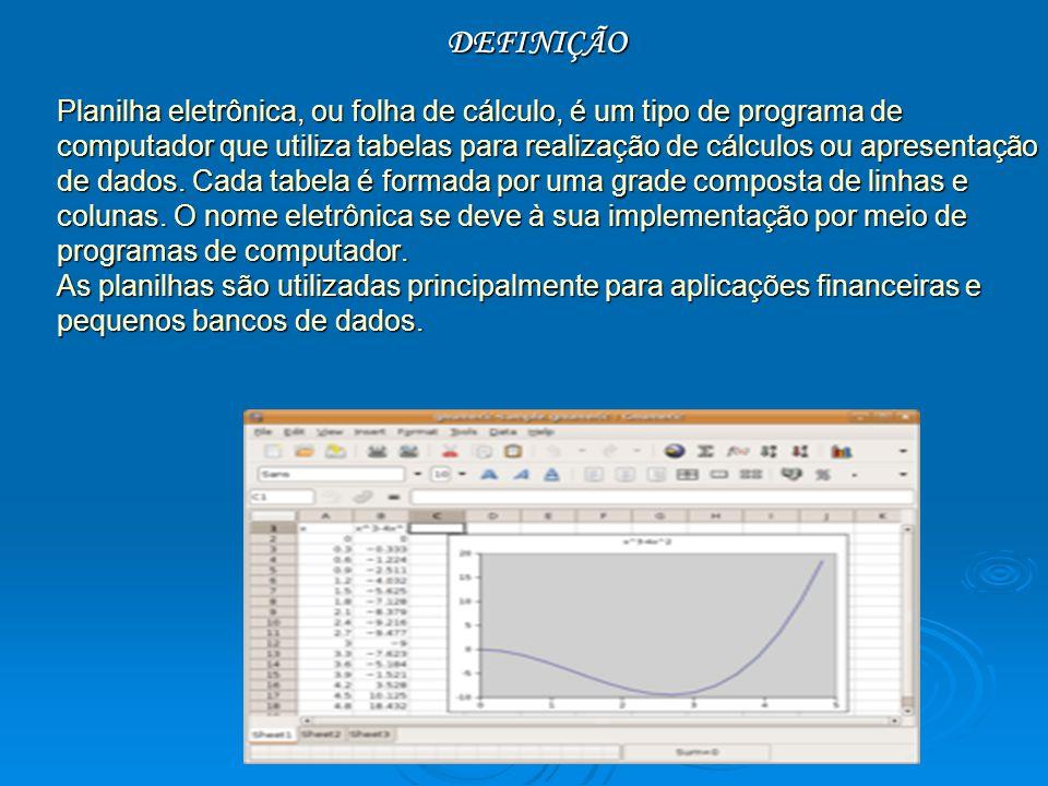 DEFINIÇÃO Planilha eletrônica, ou folha de cálculo, é um tipo de programa de computador que utiliza tabelas para realização de cálculos ou apresentaçã