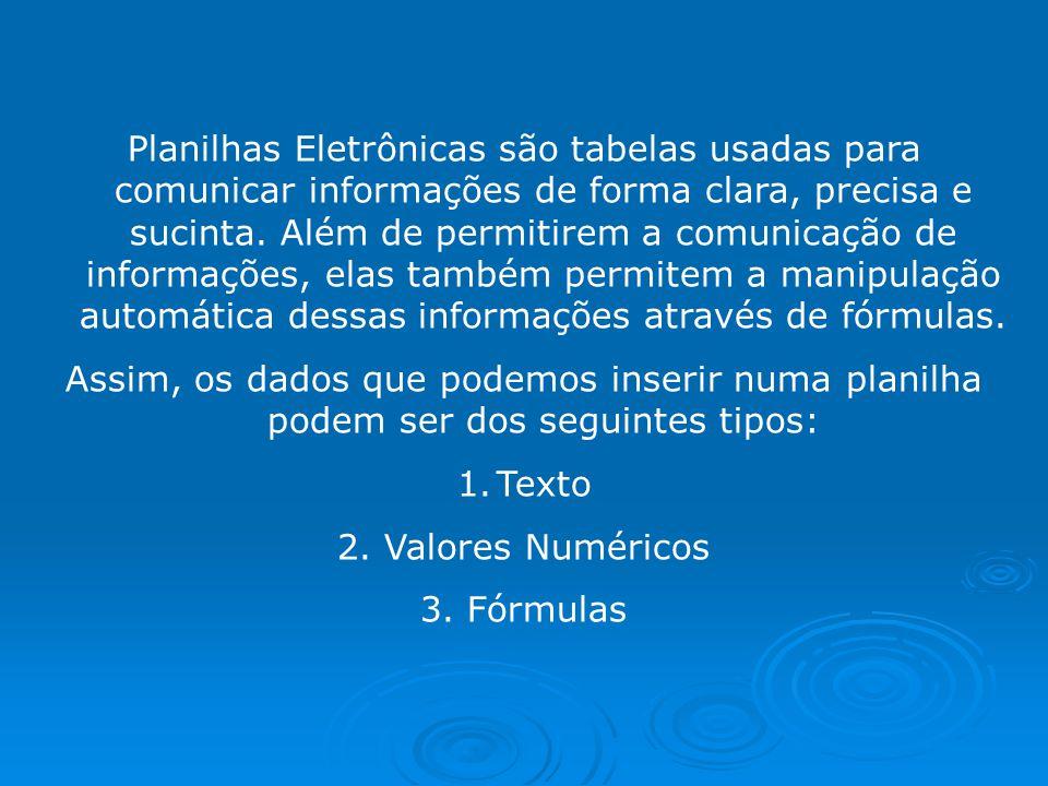 Planilhas Eletrônicas são tabelas usadas para comunicar informações de forma clara, precisa e sucinta.