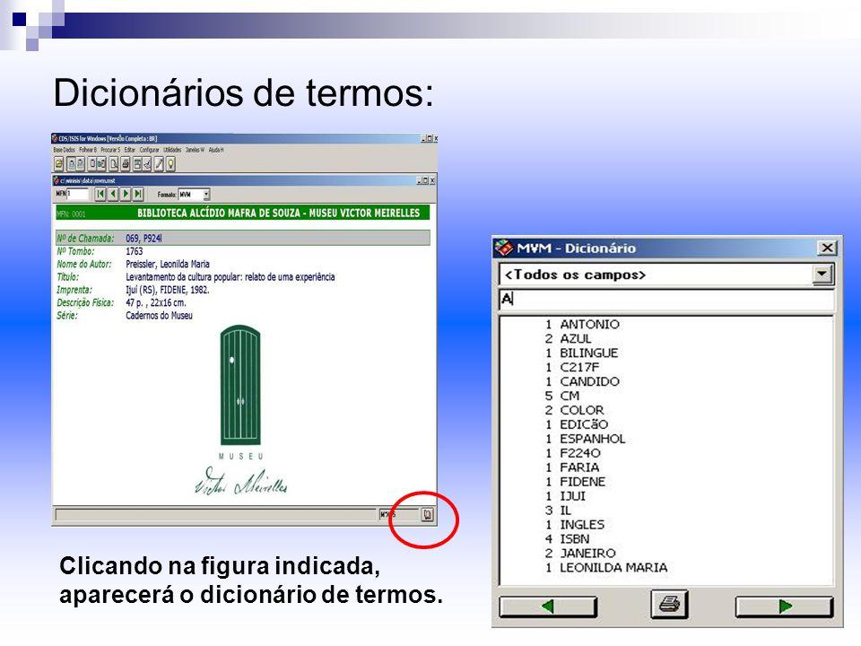 Dicionários de termos: Clicando na figura indicada, aparecerá o dicionário de termos.