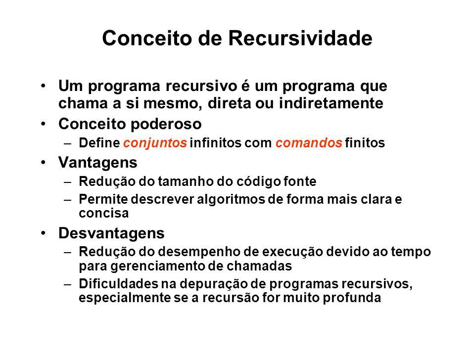 Conceito de Recursividade Um programa recursivo é um programa que chama a si mesmo, direta ou indiretamente Conceito poderoso –Define conjuntos infinitos com comandos finitos Vantagens –Redução do tamanho do código fonte –Permite descrever algoritmos de forma mais clara e concisa Desvantagens –Redução do desempenho de execução devido ao tempo para gerenciamento de chamadas –Dificuldades na depuração de programas recursivos, especialmente se a recursão for muito profunda