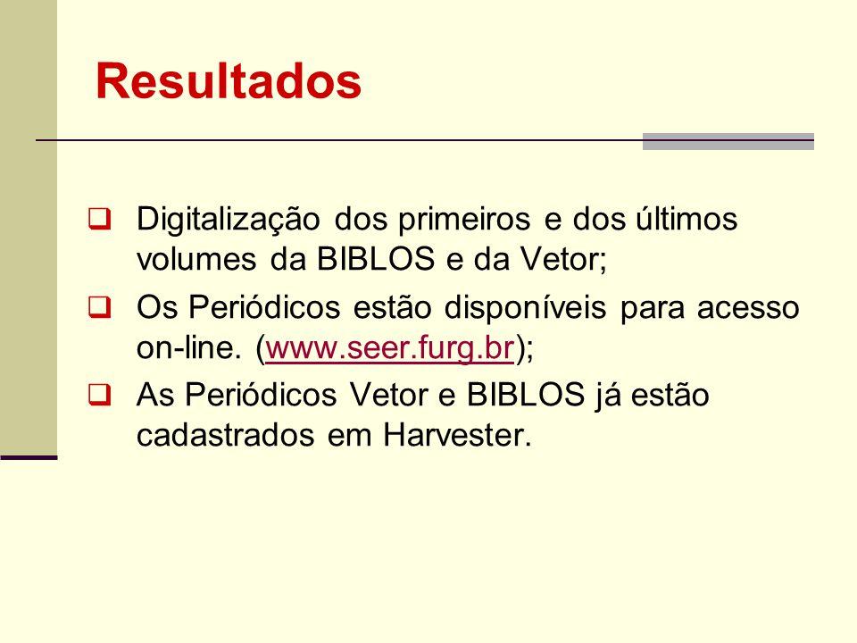 Resultados Digitalização dos primeiros e dos últimos volumes da BIBLOS e da Vetor; Os Periódicos estão disponíveis para acesso on-line. (www.seer.furg
