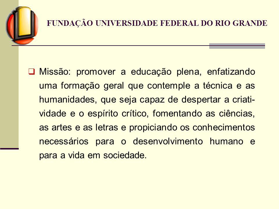 FUNDAÇÃO UNIVERSIDADE FEDERAL DO RIO GRANDE Missão: promover a educação plena, enfatizando uma formação geral que contemple a técnica e as humanidades