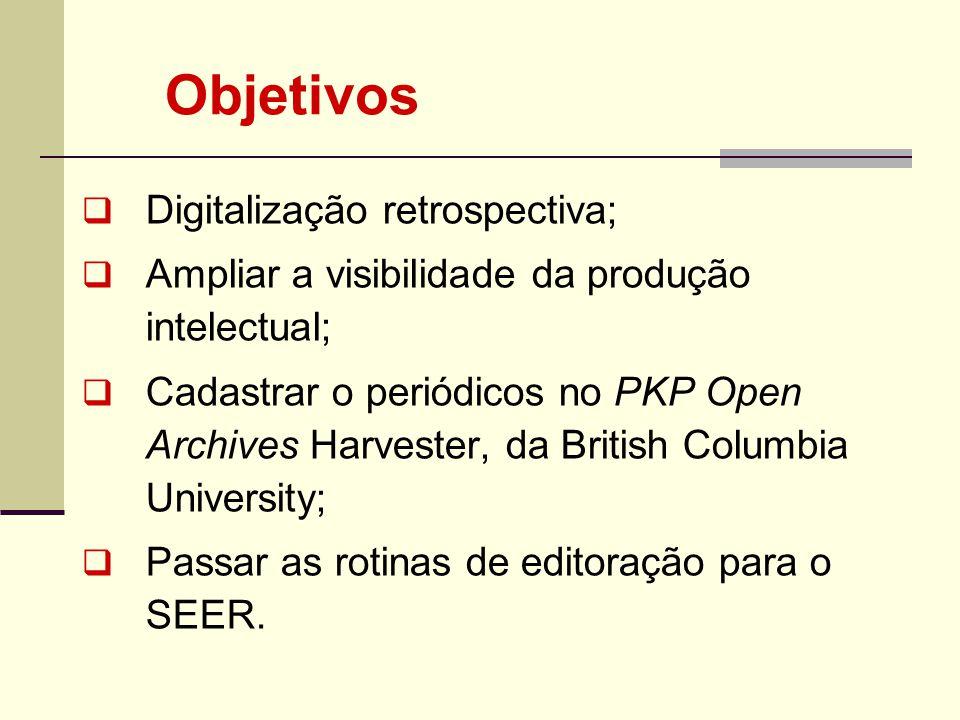 Objetivos Digitalização retrospectiva; Ampliar a visibilidade da produção intelectual; Cadastrar o periódicos no PKP Open Archives Harvester, da Briti