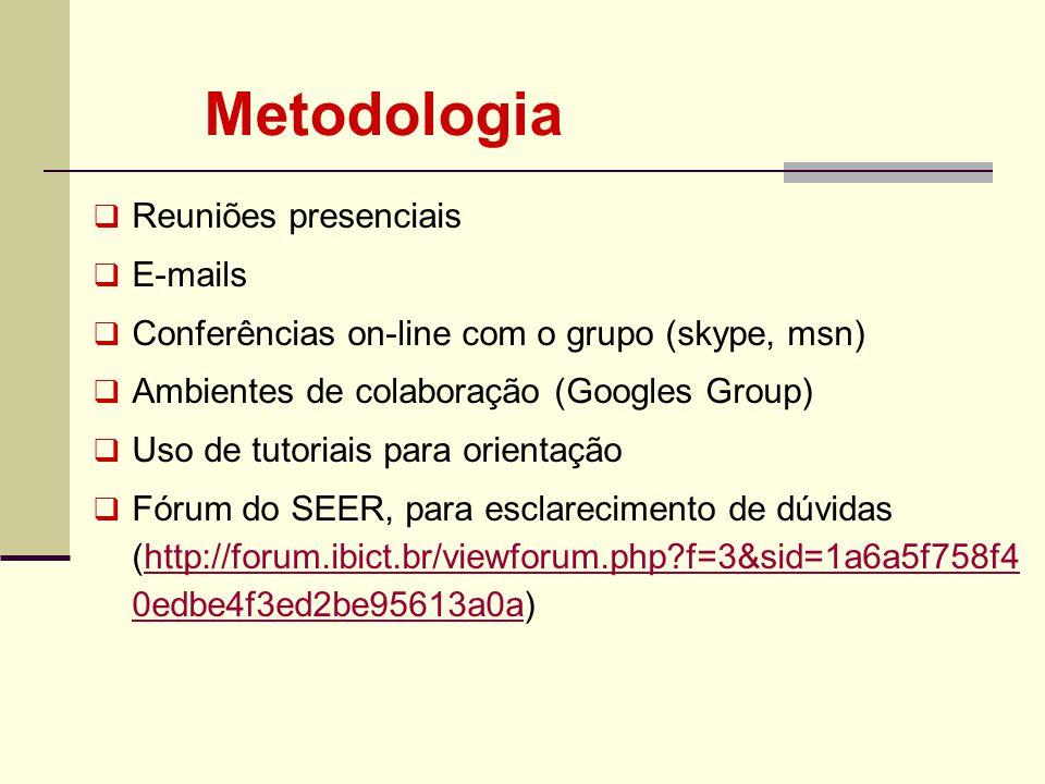 Reuniões presenciais E-mails Conferências on-line com o grupo (skype, msn) Ambientes de colaboração (Googles Group) Uso de tutoriais para orientação F