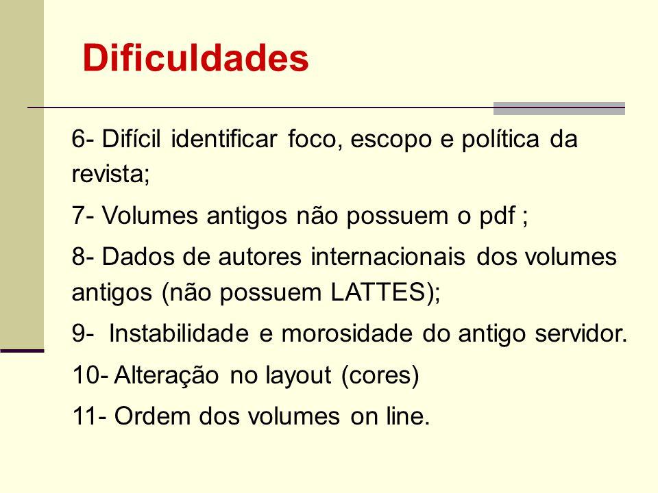6- Difícil identificar foco, escopo e política da revista; 7- Volumes antigos não possuem o pdf ; 8- Dados de autores internacionais dos volumes antig