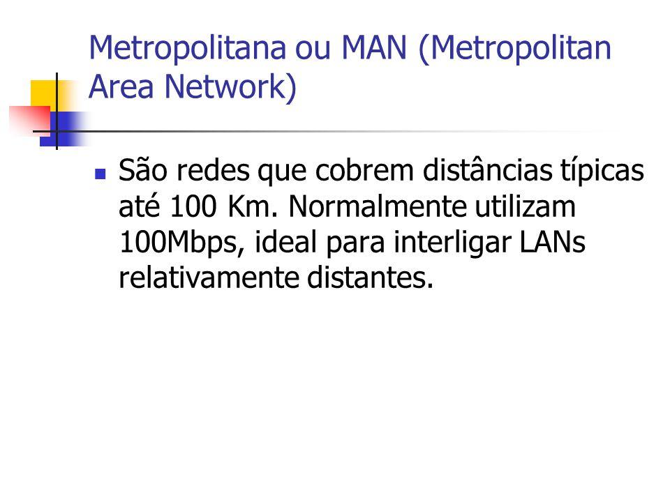 Metropolitana ou MAN (Metropolitan Area Network) São redes que cobrem distâncias típicas até 100 Km. Normalmente utilizam 100Mbps, ideal para interlig