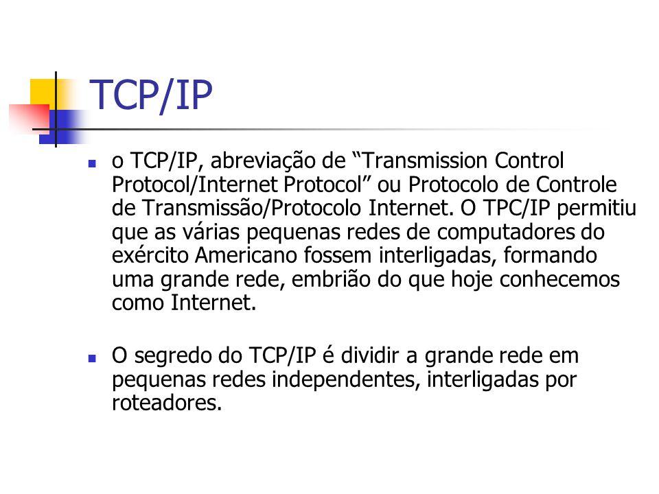TCP/IP o TCP/IP, abreviação de Transmission Control Protocol/Internet Protocol ou Protocolo de Controle de Transmissão/Protocolo Internet. O TPC/IP pe