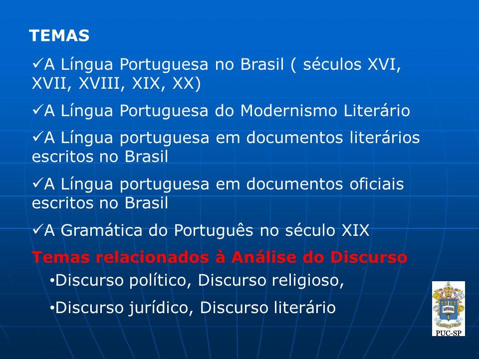 TEMAS A Língua Portuguesa no Brasil ( séculos XVI, XVII, XVIII, XIX, XX) A Língua Portuguesa do Modernismo Literário A Língua portuguesa em documentos