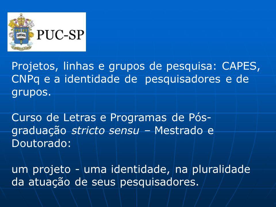 Projetos, linhas e grupos de pesquisa: CAPES, CNPq e a identidade de pesquisadores e de grupos. Curso de Letras e Programas de Pós- graduação stricto