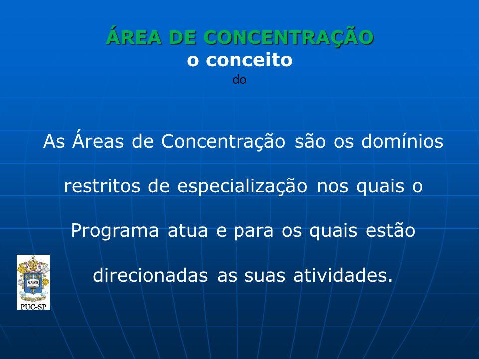 ÁREA DE CONCENTRAÇÃO ÁREA DE CONCENTRAÇÃO o conceito do As Áreas de Concentração são os domínios restritos de especialização nos quais o Programa atua