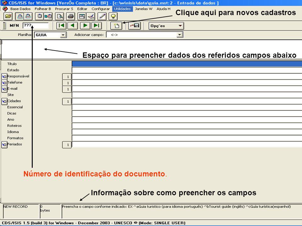 Informação sobre como preencher os campos Espaço para preencher dados dos referidos campos abaixo Número de identificação do documento. Clique aqui pa