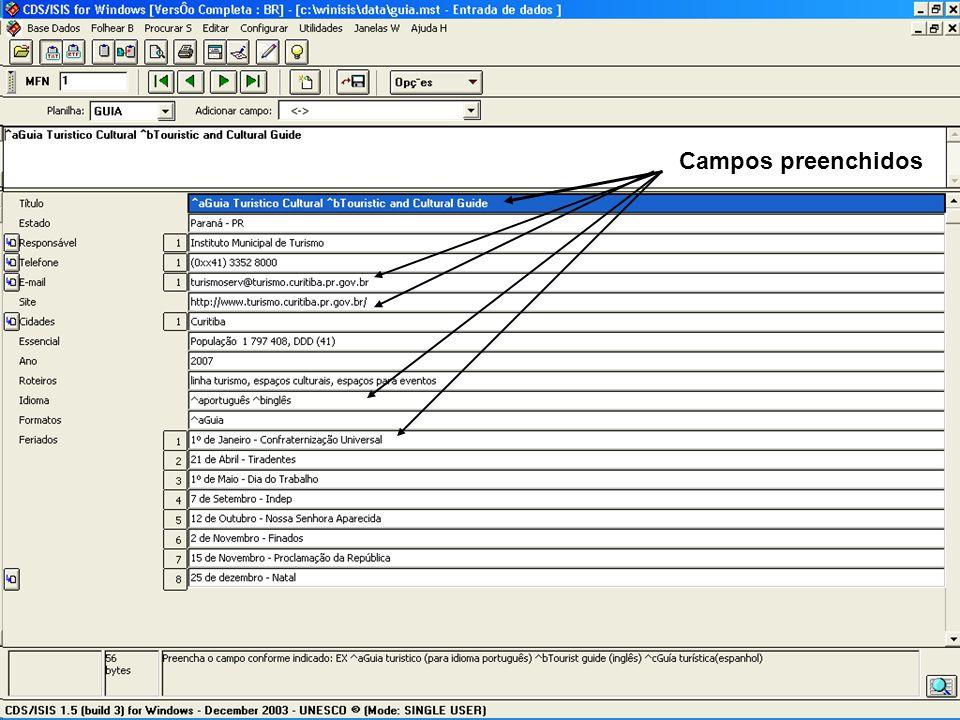 Visual da página com os dados
