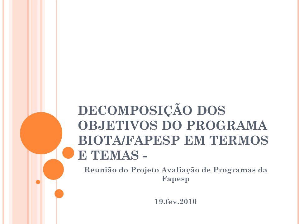 DECOMPOSIÇÃO DOS OBJETIVOS DO PROGRAMA BIOTA/FAPESP EM TERMOS E TEMAS - Reunião do Projeto Avaliação de Programas da Fapesp 19.fev.2010