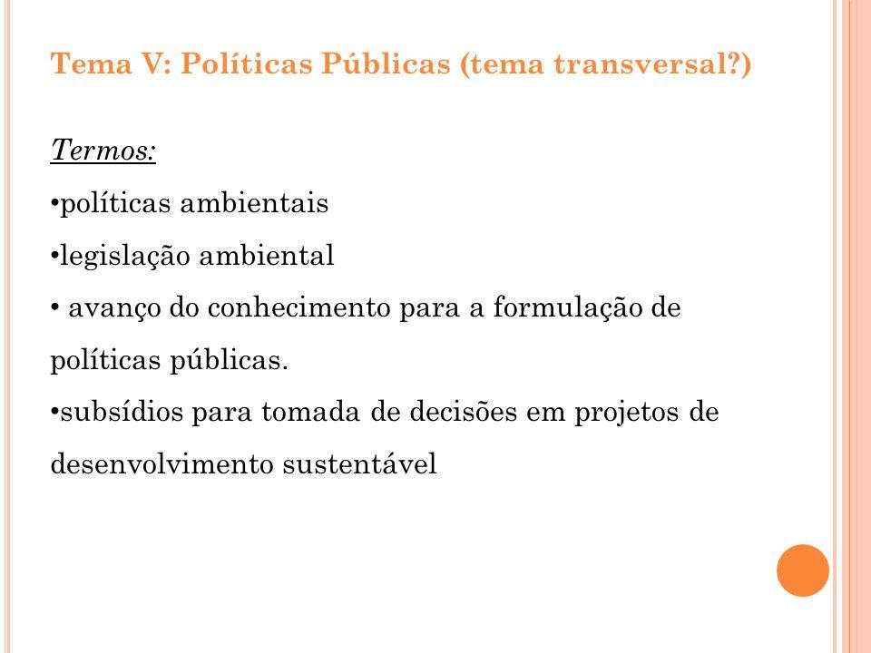 Tema V: Políticas Públicas (tema transversal?) Termos: políticas ambientais legislação ambiental avanço do conhecimento para a formulação de políticas