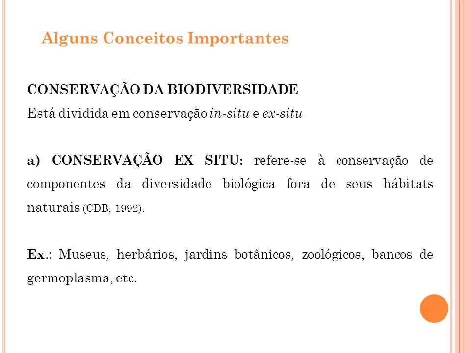 b) CONSERVAÇÃO IN SITU : refere-se à conservação de ecossistemas e hábitats naturais e à manutenção e recuperação de populações viáveis de espécies em seus meios naturais e, no caso de espécies domesticadas ou cultivadas, nos meios onde tenham desenvolvido suas propriedades características (CDB, 1992).