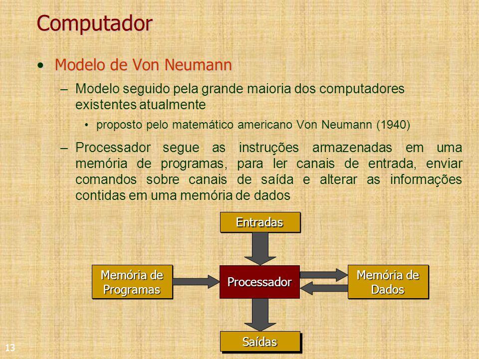 13 Computador Modelo de Von NeumannModelo de Von Neumann –Modelo seguido pela grande maioria dos computadores existentes atualmente proposto pelo matemático americano Von Neumann (1940) –Processador segue as instruções armazenadas em uma memória de programas, para ler canais de entrada, enviar comandos sobre canais de saída e alterar as informações contidas em uma memória de dados EntradasEntradas Memória de Programas Memória de Dados SaídasSaídas Processador
