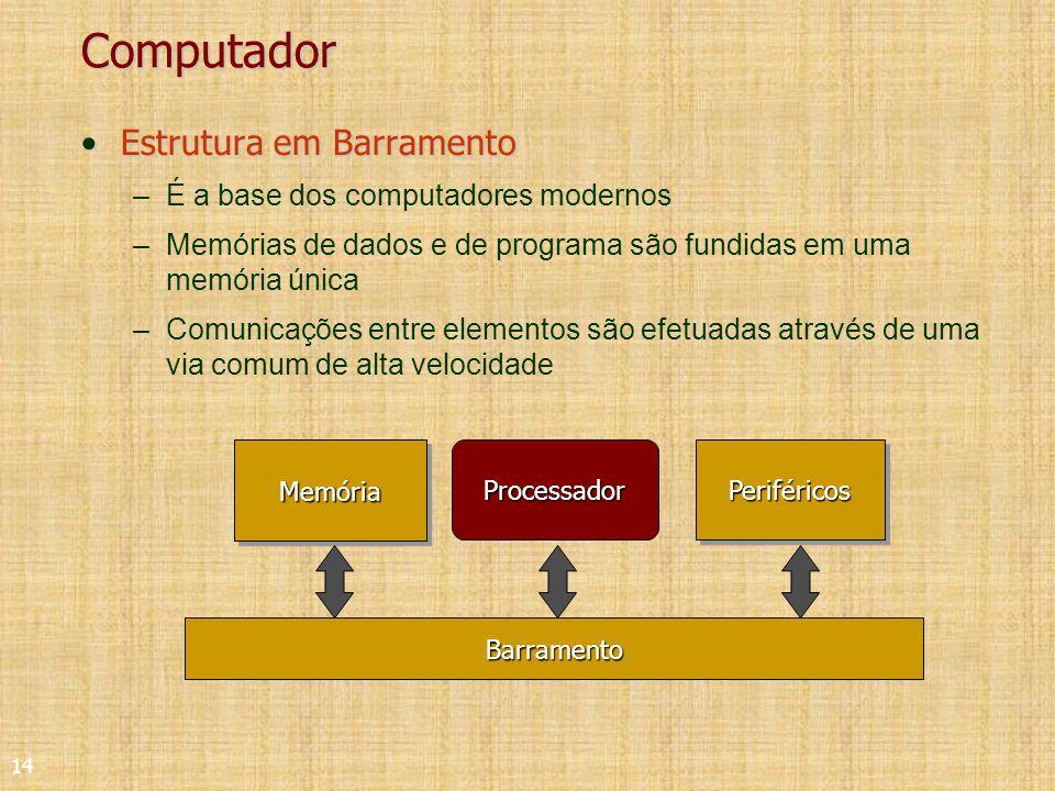 14 Computador Estrutura em BarramentoEstrutura em Barramento –É a base dos computadores modernos –Memórias de dados e de programa são fundidas em uma memória única –Comunicações entre elementos são efetuadas através de uma via comum de alta velocidadeMemóriaMemóriaProcessadorPeriféricosPeriféricosBarramento