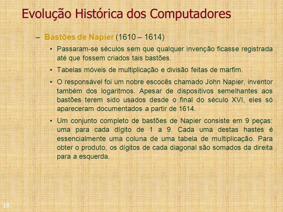 19 Evolução Histórica dos Computadores –Bastões de Napier (1610 – 1614) Passaram-se séculos sem que qualquer invenção ficasse registrada até que fossem criados tais bastões.
