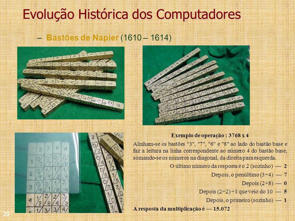 20 Evolução Histórica dos Computadores –Bastões de Napier (1610 – 1614) Exemplo de operação : 3768 x 4 Alinham-se os bastões 3 , 7 , 6 e 8 ao lado do bastão base e faz a leitura na linha correspondente ao número 4 do bastão base, somando-se os números na diagonal, da direita para esquerda.