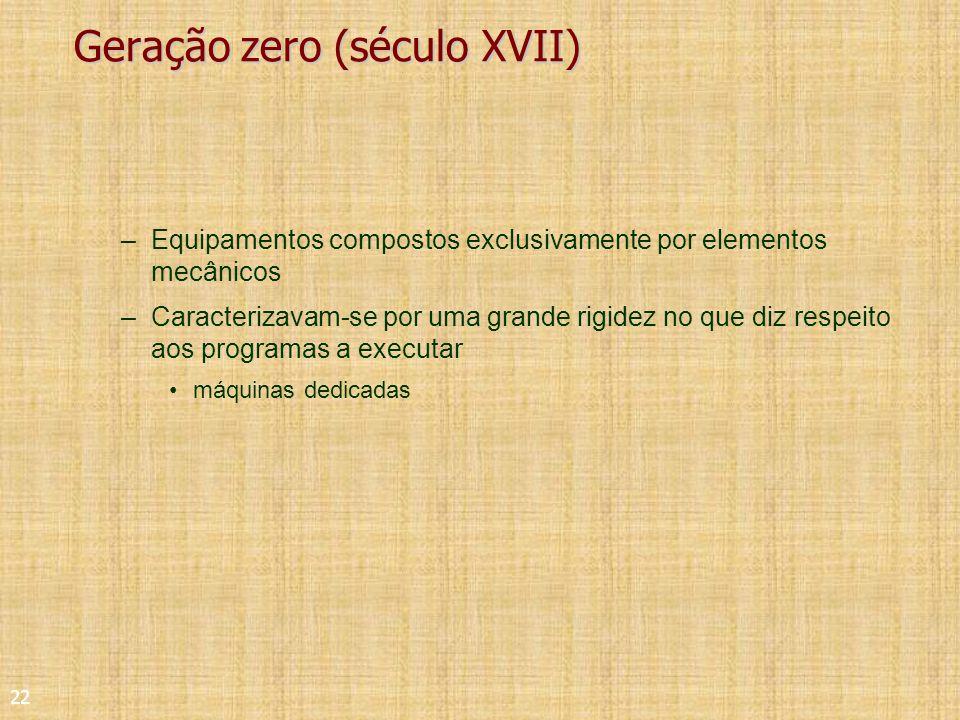 22 Geração zero (século XVII) –Equipamentos compostos exclusivamente por elementos mecânicos –Caracterizavam-se por uma grande rigidez no que diz respeito aos programas a executar máquinas dedicadas