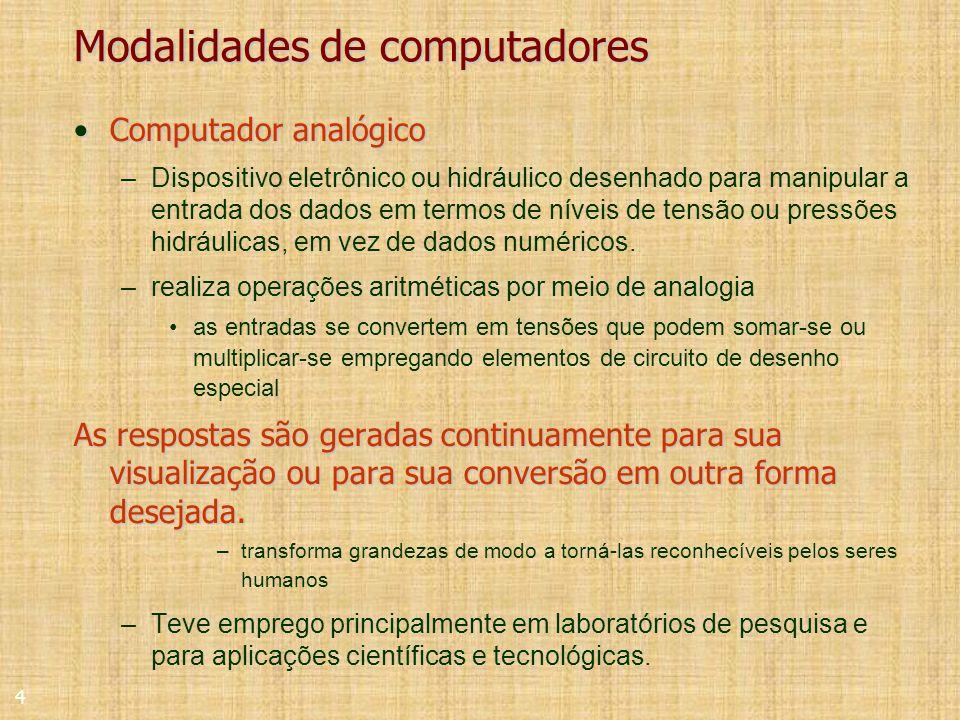 4 Modalidades de computadores Computador analógicoComputador analógico –Dispositivo eletrônico ou hidráulico desenhado para manipular a entrada dos dados em termos de níveis de tensão ou pressões hidráulicas, em vez de dados numéricos.