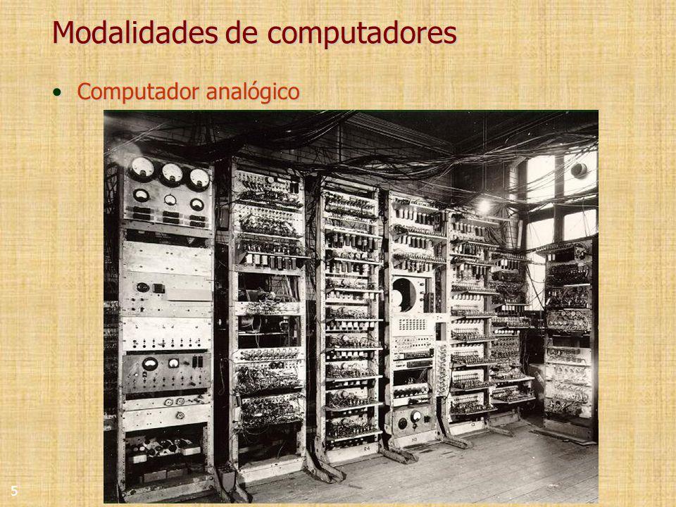 5 Modalidades de computadores Computador analógicoComputador analógico