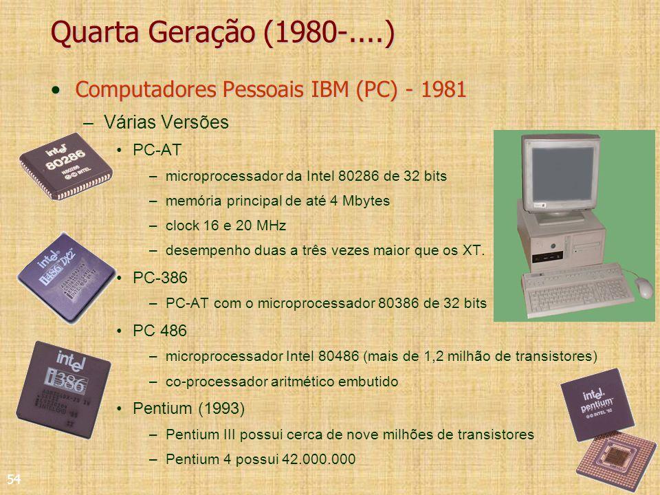 54 Quarta Geração (1980-....) Computadores Pessoais IBM (PC) - 1981Computadores Pessoais IBM (PC) - 1981 –Várias Versões PC-AT –microprocessador da Intel 80286 de 32 bits –memória principal de até 4 Mbytes –clock 16 e 20 MHz –desempenho duas a três vezes maior que os XT.