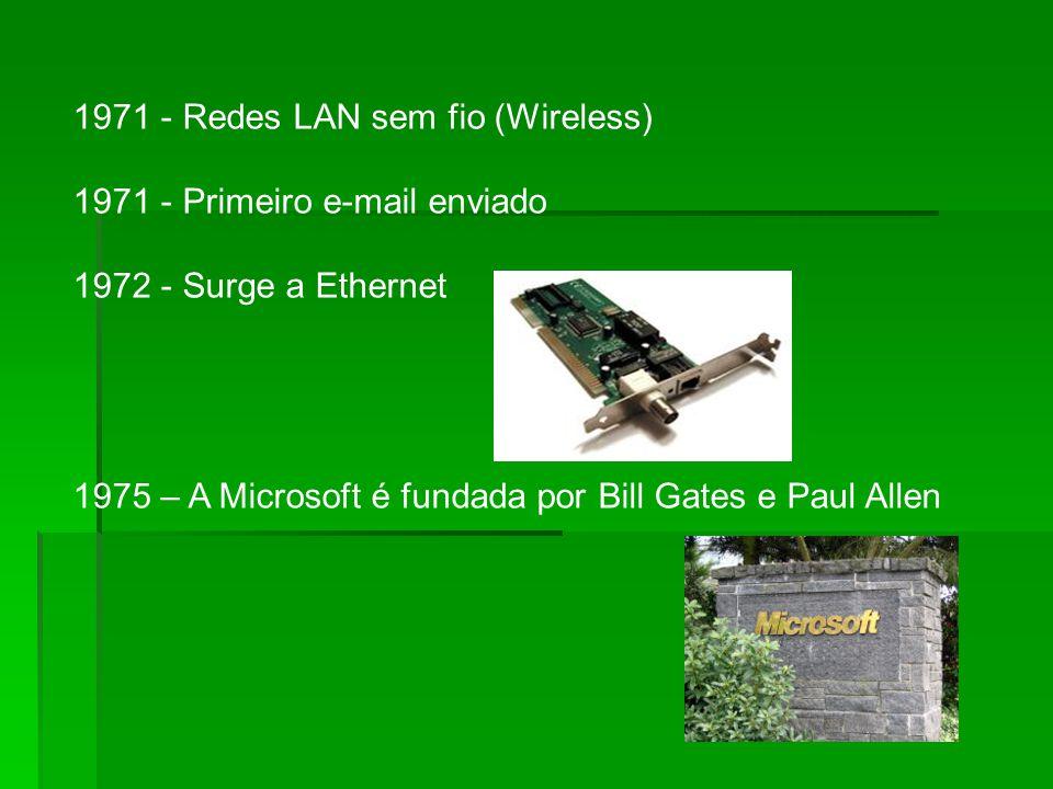 1971 - Redes LAN sem fio (Wireless) 1971 - Primeiro e-mail enviado 1972 - Surge a Ethernet 1975 – A Microsoft é fundada por Bill Gates e Paul Allen