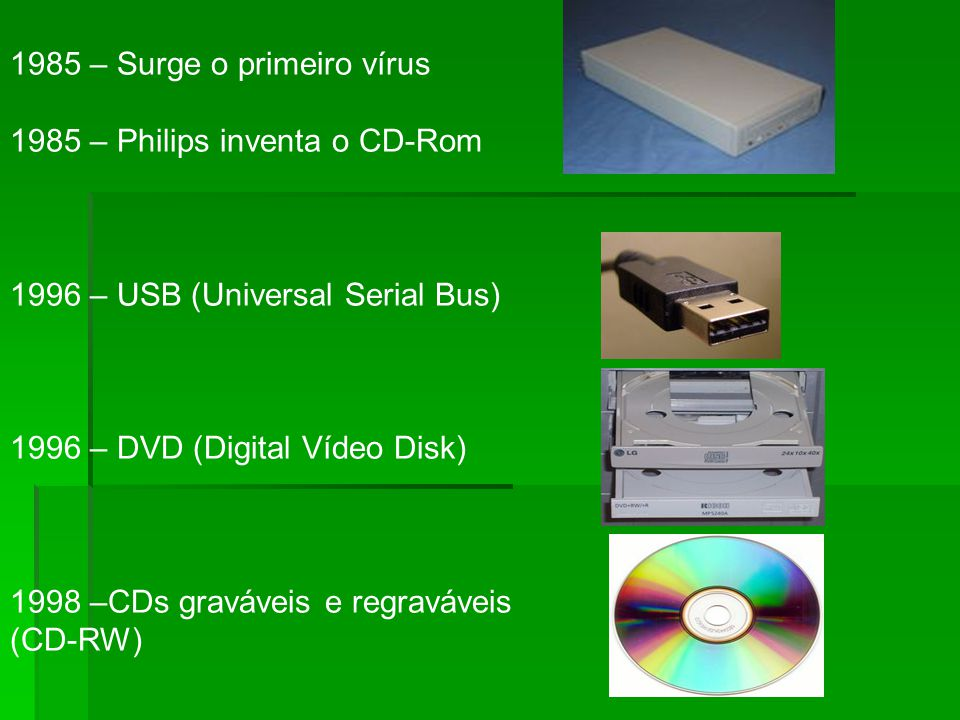 1985 – Surge o primeiro vírus 1985 – Philips inventa o CD-Rom 1996 – USB (Universal Serial Bus) 1996 – DVD (Digital Vídeo Disk) 1998 –CDs graváveis e