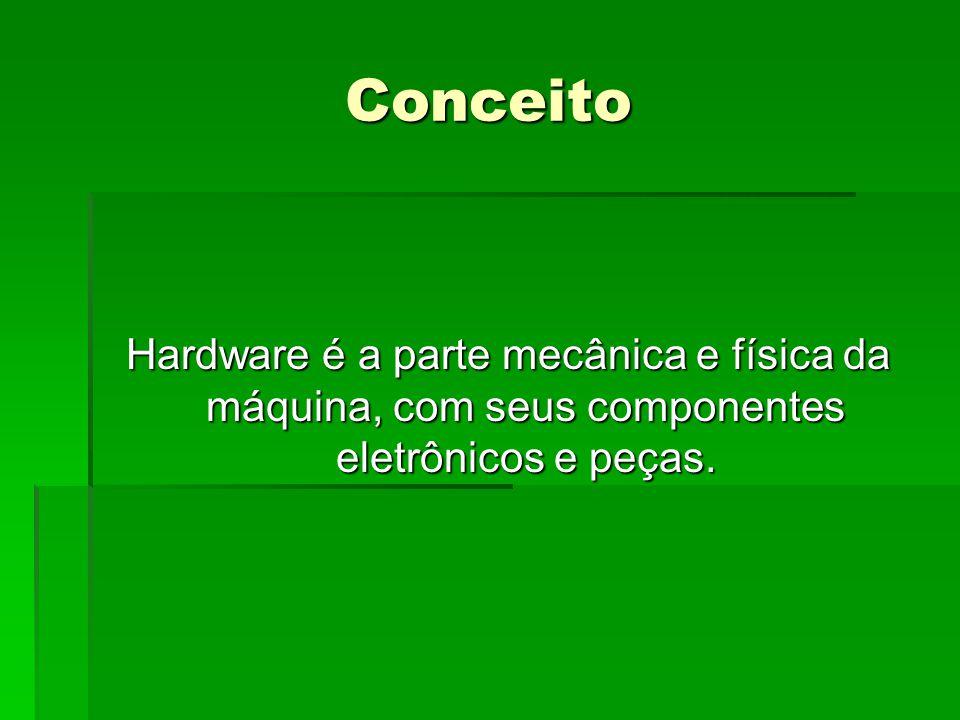 Conceito Hardware é a parte mecânica e física da máquina, com seus componentes eletrônicos e peças.