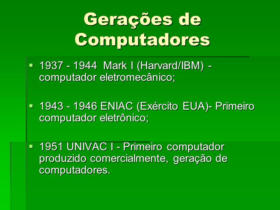 Gerações de Computadores 1937 - 1944 Mark I (Harvard/IBM) - computador eletromecânico; 1937 - 1944 Mark I (Harvard/IBM) - computador eletromecânico; 1943 - 1946 ENIAC (Exército EUA)- Primeiro computador eletrônico; 1943 - 1946 ENIAC (Exército EUA)- Primeiro computador eletrônico; 1951 UNIVAC I - Primeiro computador produzido comercialmente, geração de computadores.
