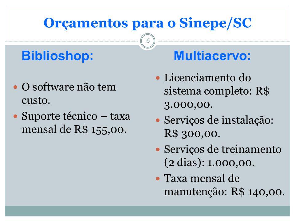 6 Orçamentos para o Sinepe/SC Biblioshop:Multiacervo: O software não tem custo. Suporte técnico – taxa mensal de R$ 155,00. Licenciamento do sistema c