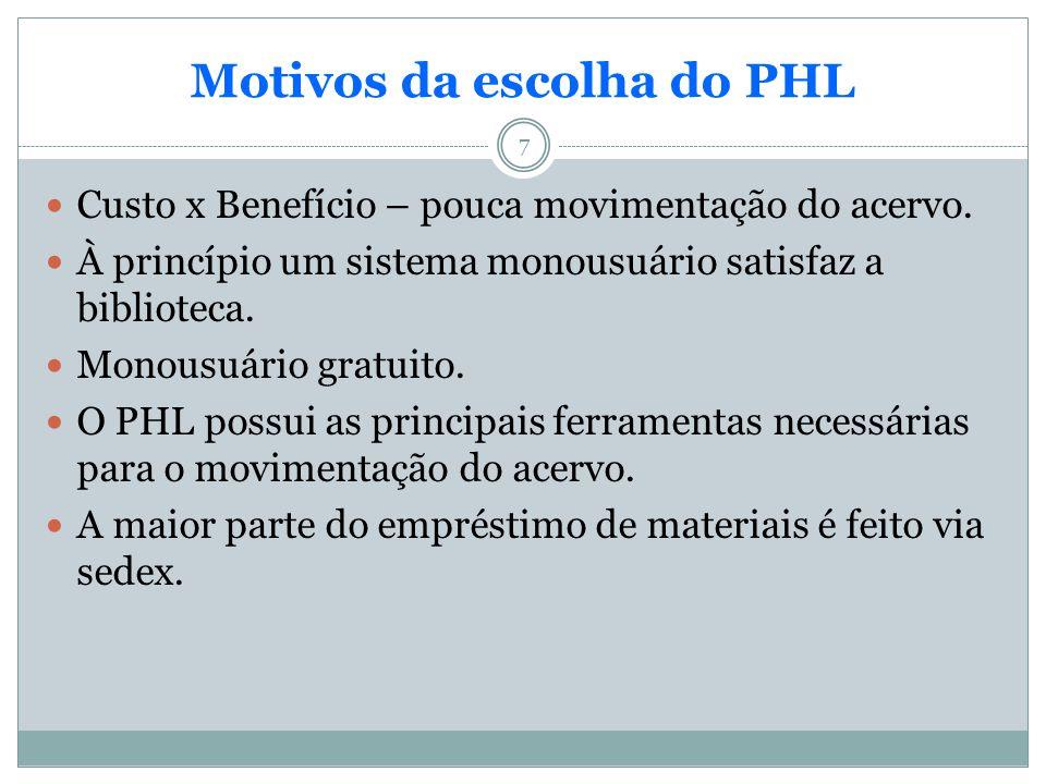 7 Motivos da escolha do PHL Custo x Benefício – pouca movimentação do acervo. À princípio um sistema monousuário satisfaz a biblioteca. Monousuário gr