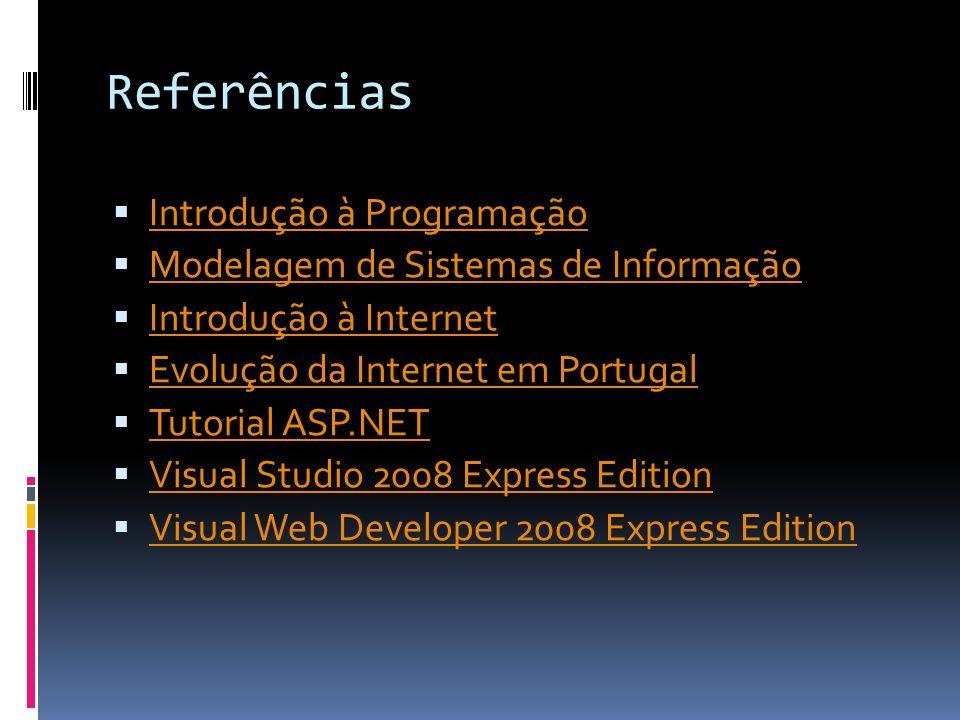 Referências Introdução à Programação Modelagem de Sistemas de Informação Introdução à Internet Evolução da Internet em Portugal Tutorial ASP.NET Visual Studio 2008 Express Edition Visual Web Developer 2008 Express Edition