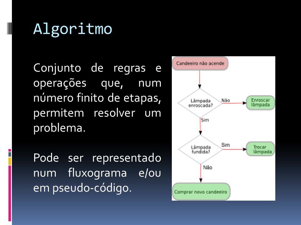 Algoritmo Conjunto de regras e operações que, num número finito de etapas, permitem resolver um problema.