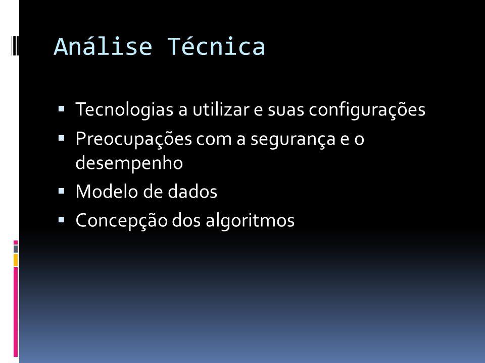 Análise Técnica Tecnologias a utilizar e suas configurações Preocupações com a segurança e o desempenho Modelo de dados Concepção dos algoritmos