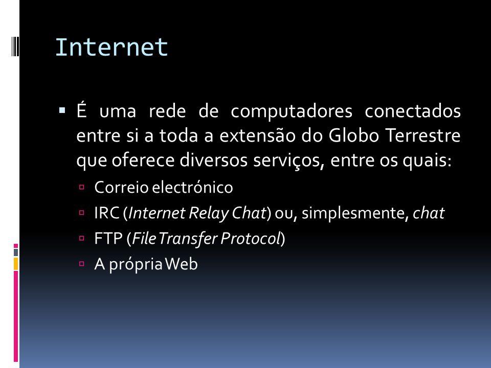 Internet É uma rede de computadores conectados entre si a toda a extensão do Globo Terrestre que oferece diversos serviços, entre os quais: Correio electrónico IRC (Internet Relay Chat) ou, simplesmente, chat FTP (File Transfer Protocol) A própria Web
