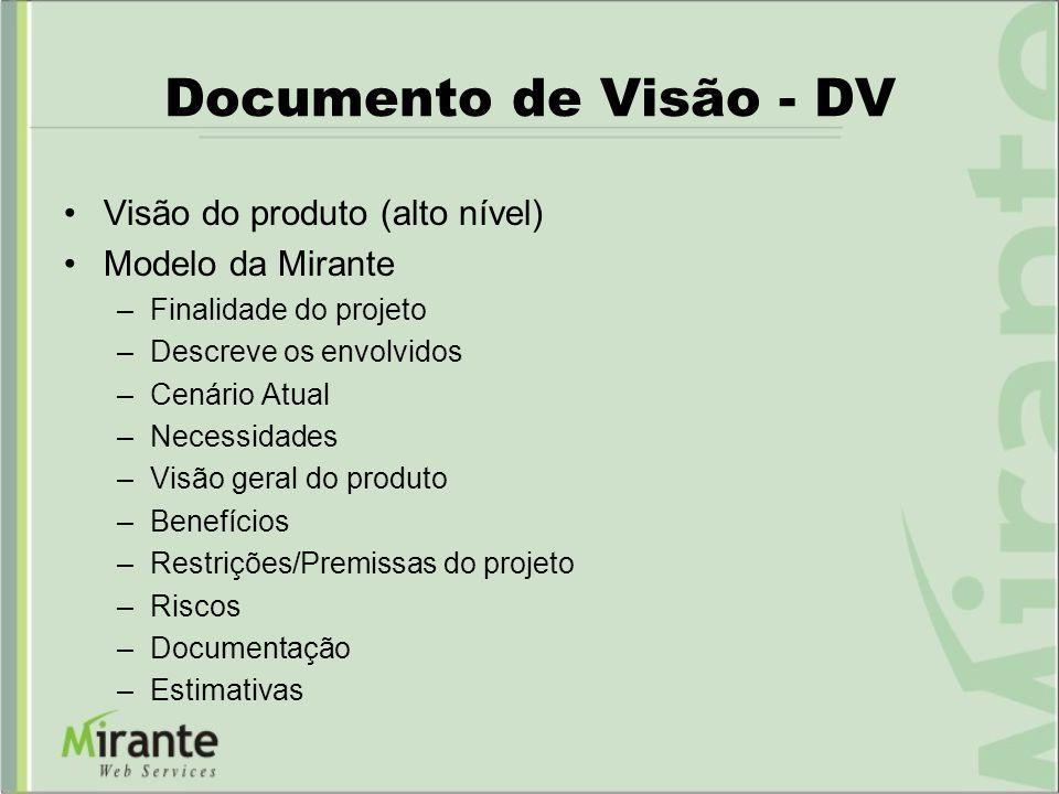 Documento de Visão - DV Visão do produto (alto nível) Modelo da Mirante –Finalidade do projeto –Descreve os envolvidos –Cenário Atual –Necessidades –V