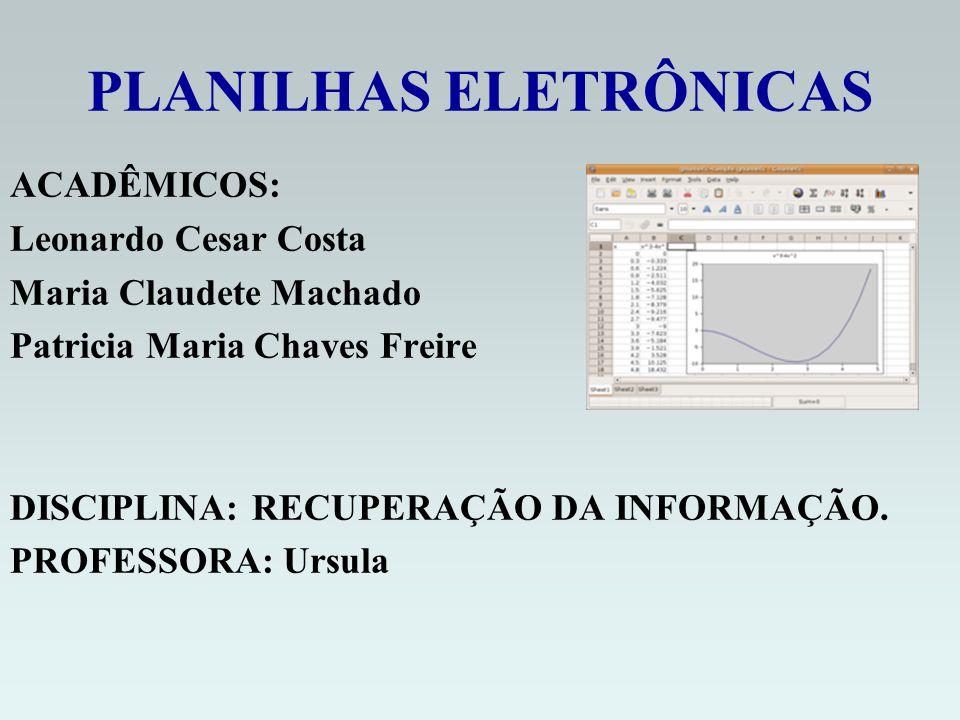 PLANILHAS ELETRÔNICAS ACADÊMICOS: Leonardo Cesar Costa Maria Claudete Machado Patricia Maria Chaves Freire DISCIPLINA: RECUPERAÇÃO DA INFORMAÇÃO.